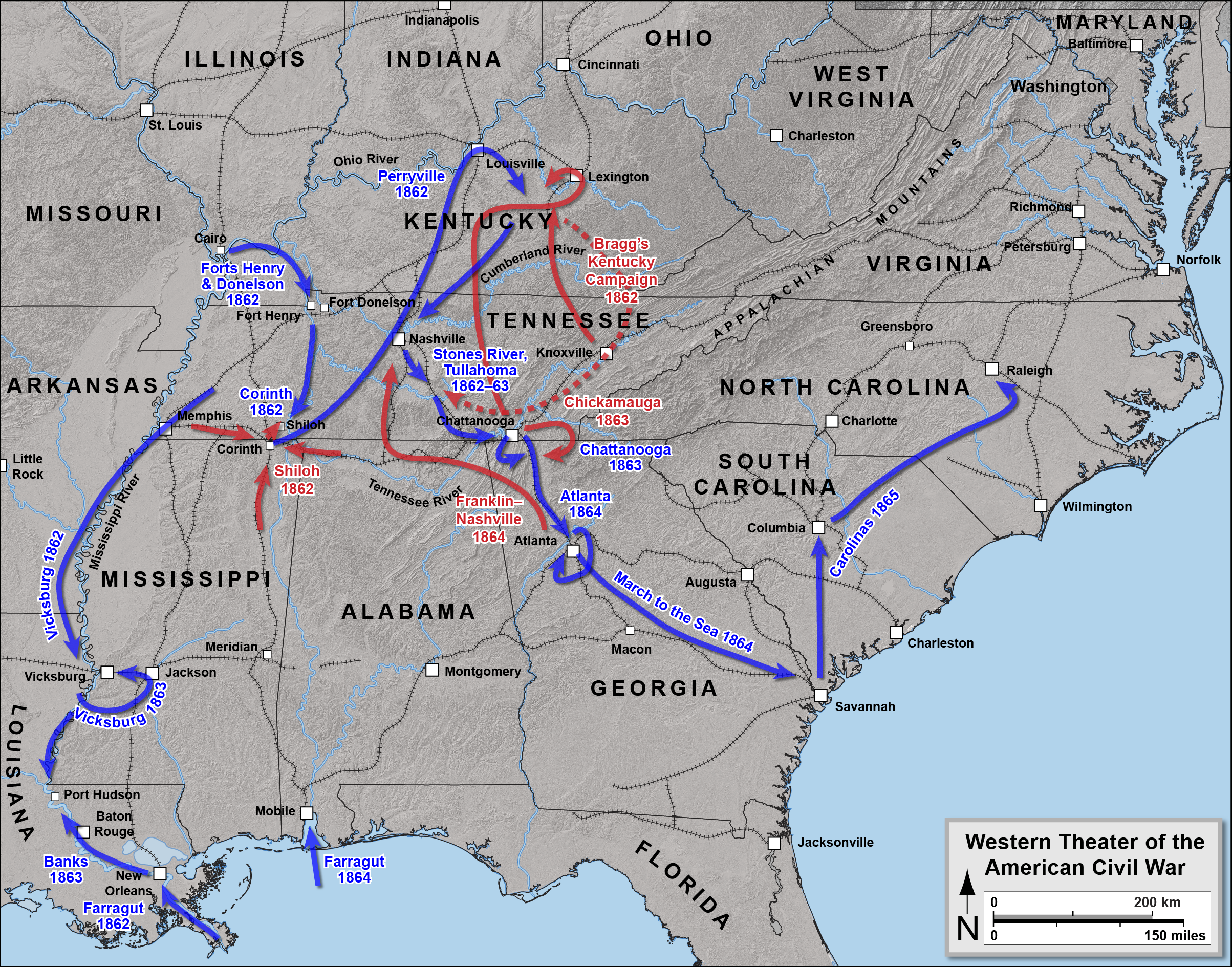 the us army 1861 map civil war western theater